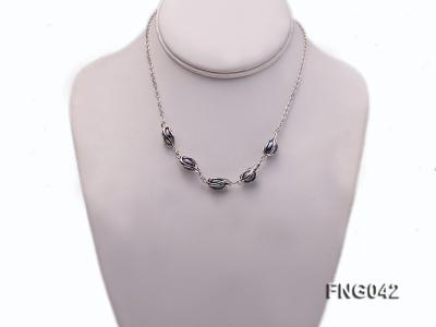 Gold-plated Metal Chain Necklace, Bracelet and Earrings Set with Freshwater Pearl FNG042 Image 4
