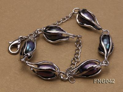 Gold-plated Metal Chain Necklace, Bracelet and Earrings Set with Freshwater Pearl FNG042 Image 6