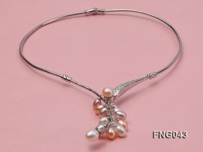 Gold-plated Metal Necklace dotted with 7-8mm Multi-color Freshwater Pearls FNG043 Image 1