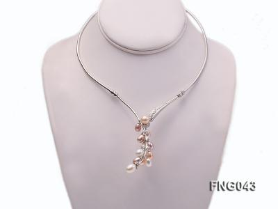 Gold-plated Metal Necklace dotted with 7-8mm Multi-color Freshwater Pearls FNG043 Image 2