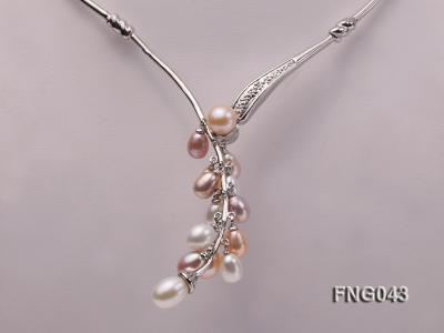 Gold-plated Metal Necklace dotted with 7-8mm Multi-color Freshwater Pearls FNG043 Image 3