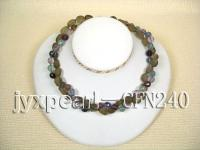 10mm round faceted crystal and 9x14mm frosted smoky quartz necklace CFN240