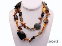 8*14mm coffee pearl coral and shell opera necklace FNO643