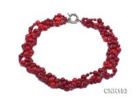 4.5-10mm Round Red Coral Three-Strand Necklace CNR153