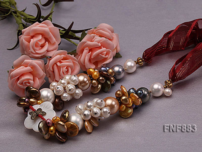 Freshwater Pearl and Seashell Pearl Necklace with a Shell Flower big Image 3