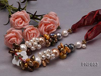 Freshwater Pearl and Seashell Pearl Necklace with a Shell Flower FNF883 Image 3