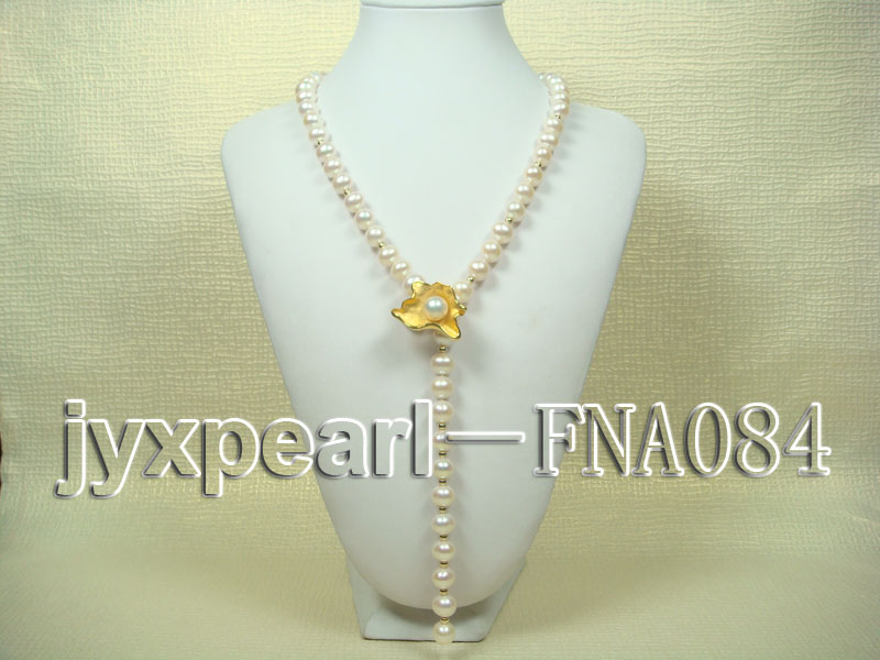 natural 10-11mm white freshwater pearl opera necklace with pearl clasp big Image 1