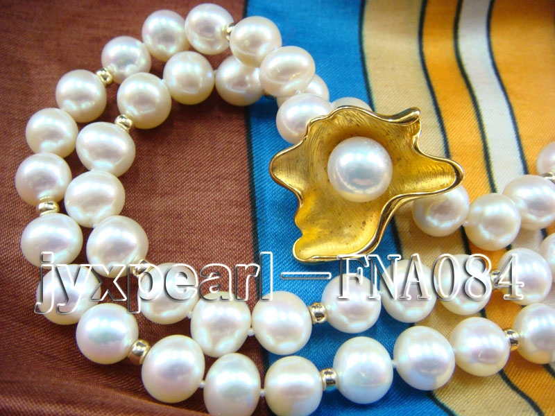 natural 10-11mm white freshwater pearl opera necklace with pearl clasp big Image 2