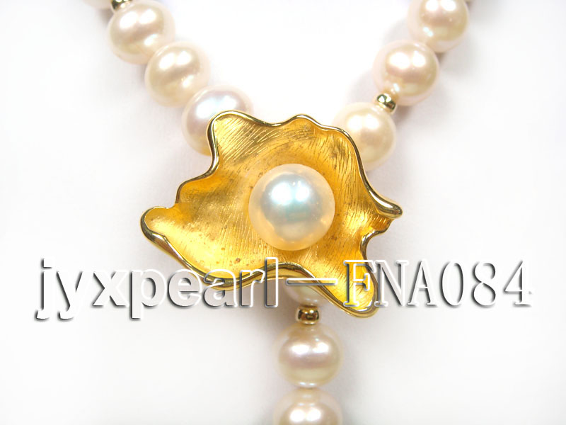 natural 10-11mm white freshwater pearl opera necklace with pearl clasp big Image 3