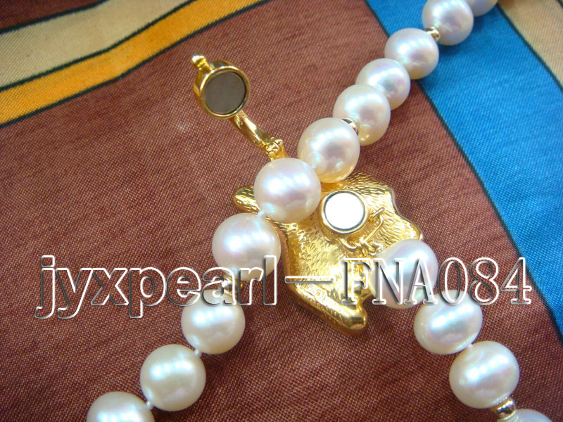 natural 10-11mm white freshwater pearl opera necklace with pearl clasp big Image 4