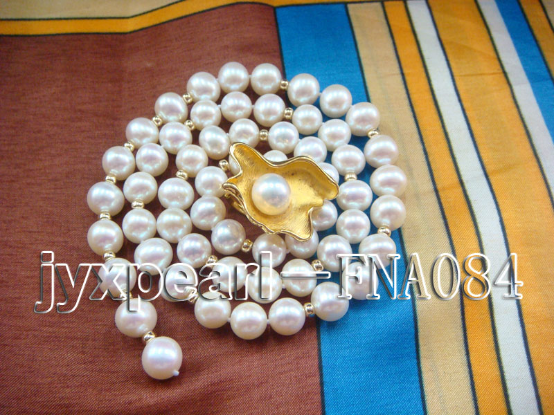 natural 10-11mm white freshwater pearl opera necklace with pearl clasp big Image 5