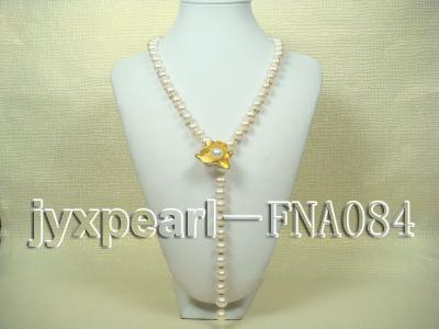 natural 10-11mm white freshwater pearl opera necklace with pearl clasp FNA084 Image 1