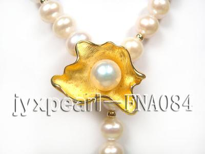 natural 10-11mm white freshwater pearl opera necklace with pearl clasp FNA084 Image 3