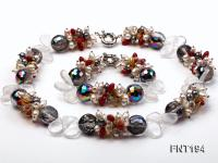 Freshwater Pearl, Coral Beads & Crystal Beads Necklace and Bracelet Set FNT194