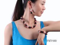 Freshwater Pearl, Coral Beads, Crystal Beads & Agate Beads Necklace, Bracelet and Earrings Set FNT195