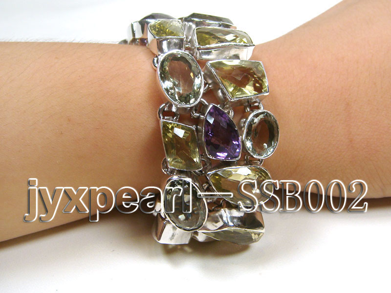 16mm polyhedral lemon crystal and amethyst with sterling silver chain bracelet  big Image 1