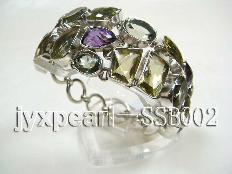 16mm polyhedral lemon crystal and amethyst with sterling silver chain bracelet  big Image 3