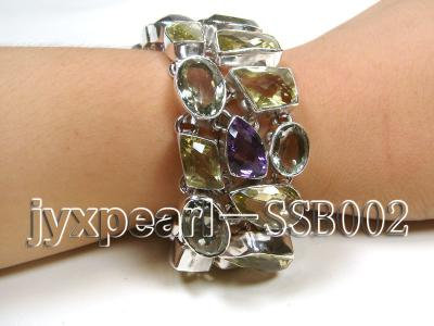 16mm polyhedral lemon crystal and amethyst with sterling silver chain bracelet  SSB002 Image 1