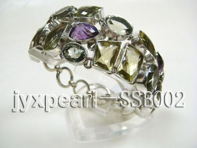 16mm polyhedral lemon crystal and amethyst with sterling silver chain bracelet  SSB002 Image 3