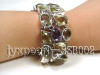 Sterling Silver Bracelet Inlaid with Lemon Quartz, Amethyst and Green Crystal SSB002