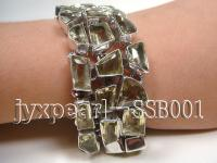 Sterling Silver Bracelet Inlaid with Lemon Quartz Pieces SSB001