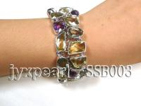 Sterling Silver Bracelet Inlaid with Lemon Quartz, Amethyst and Green Crystal SSB003
