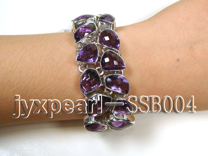 Two-row Sterling Silver Bracelet Inlaid with Amethyst Pieces big Image 1