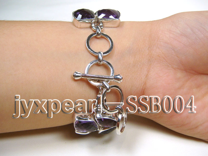 Two-row Sterling Silver Bracelet Inlaid with Amethyst Pieces big Image 2