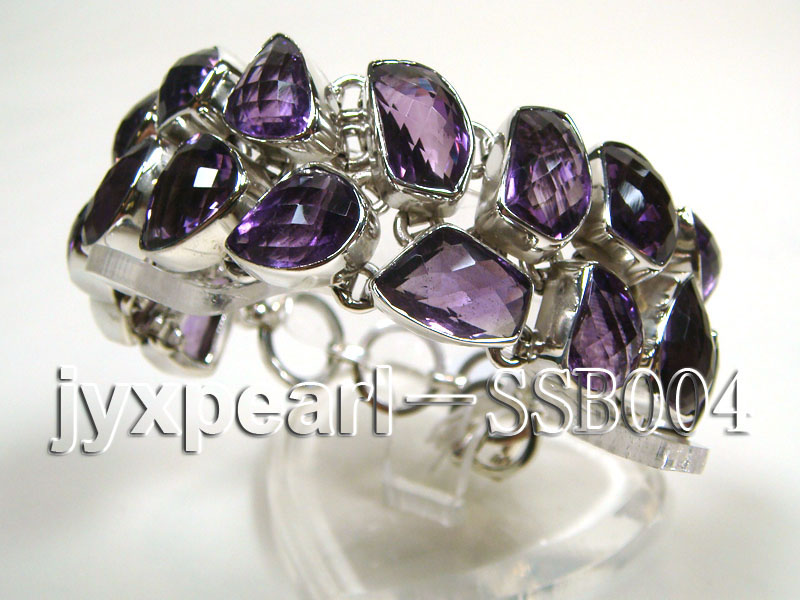 Two-row Sterling Silver Bracelet Inlaid with Amethyst Pieces big Image 3