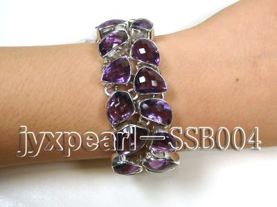 Two-row Sterling Silver Bracelet Inlaid with Amethyst Pieces SSB004 Image 1