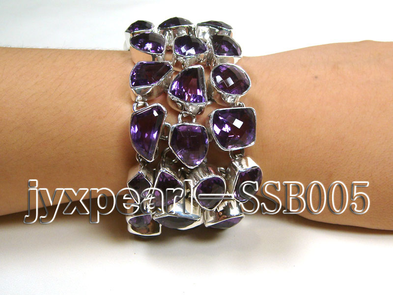 16mm irregular amethyst with sterling silver chain bracelet  big Image 1