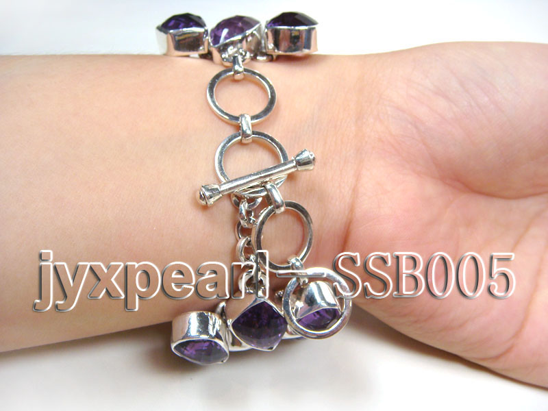 16mm irregular amethyst with sterling silver chain bracelet  big Image 2