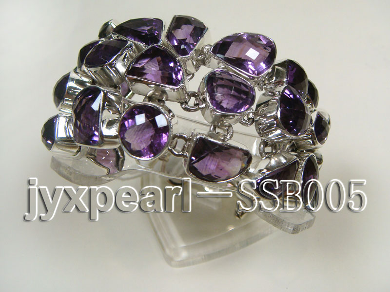 16mm irregular amethyst with sterling silver chain bracelet  big Image 3