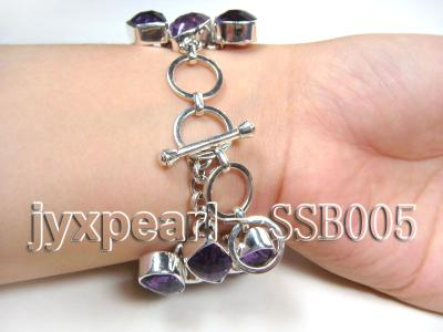 16mm irregular amethyst with sterling silver chain bracelet  SSB005 Image 2