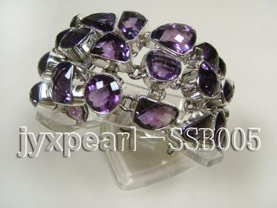 16mm irregular amethyst with sterling silver chain bracelet  SSB005 Image 3