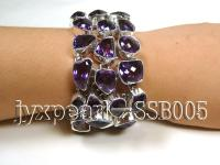 Three-row Sterling Silver Bracelet Inlaid with Amethyst Pieces SSB005