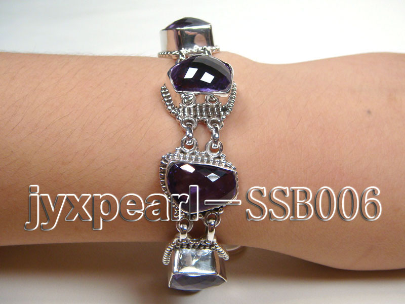 Sterling Silver Bracelet Inlaid with Amethyst Pieces big Image 1