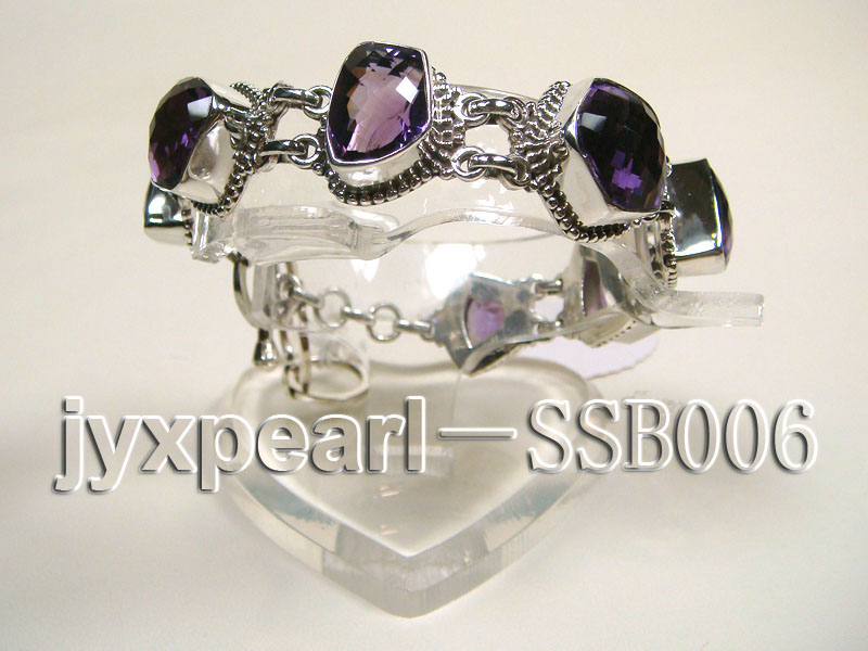 Sterling Silver Bracelet Inlaid with Amethyst Pieces big Image 3