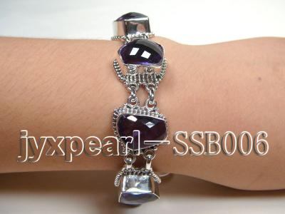 Sterling Silver Bracelet Inlaid with Amethyst Pieces SSB006 Image 1