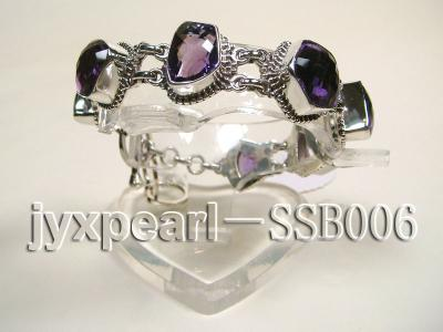 Sterling Silver Bracelet Inlaid with Amethyst Pieces SSB006 Image 3