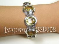 Sterling Silver Bracelet Inlaid with Lemon Quartz Beads SSB008