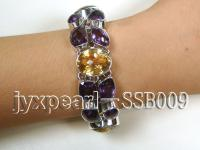 16mm purple amethyst and oval yellow crystal with sterling silver chain bracelet  SSB009