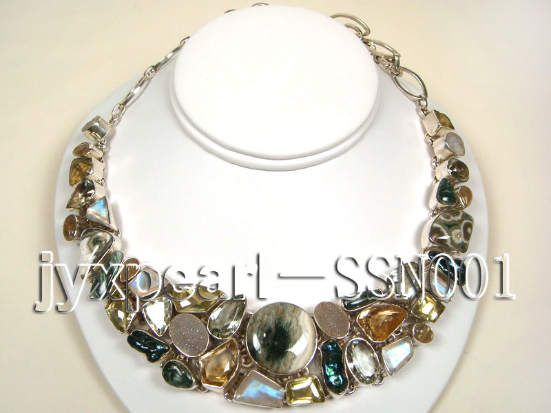 Sterling Silver Necklace Inlaid with Gemstone Pieces big Image 1