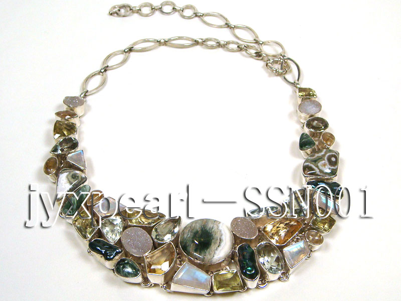 Sterling Silver chain and frantic agate and  moonstone,biwa pearl  and agate and crystal necklace big Image 4