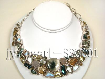Sterling Silver Necklace Inlaid with Gemstone Pieces SSN001 Image 1