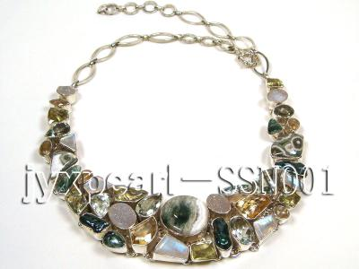 Sterling Silver Necklace Inlaid with Gemstone Pieces SSN001 Image 4