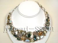 Sterling Silver Necklace Inlaid with Gemstone Pieces SSN001