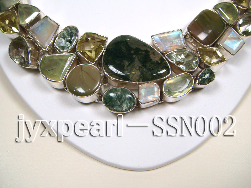 Sterling Silver Necklace Inlaid with Gemstone Pieces big Image 2