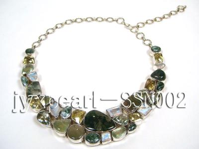 Sterling Silver Necklace Inlaid with Gemstone Pieces SSN002 Image 4