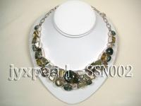 Sterling Silver Necklace Inlaid with Gemstone Pieces SSN002